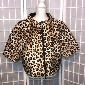 Chico's leopard print cropped puffy jacket XL 16
